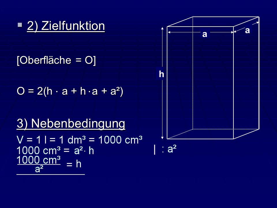 2) Zielfunktion 3) Nebenbedingung [Oberfläche = O]
